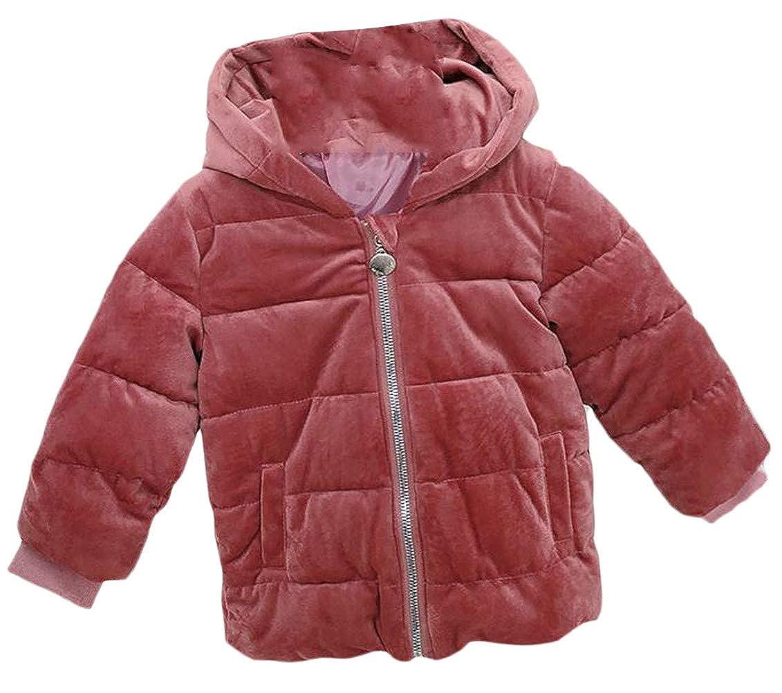 Mocilation Boys Comfy Velvet Hooded Zip Pocket Down Jacket Parka Coat