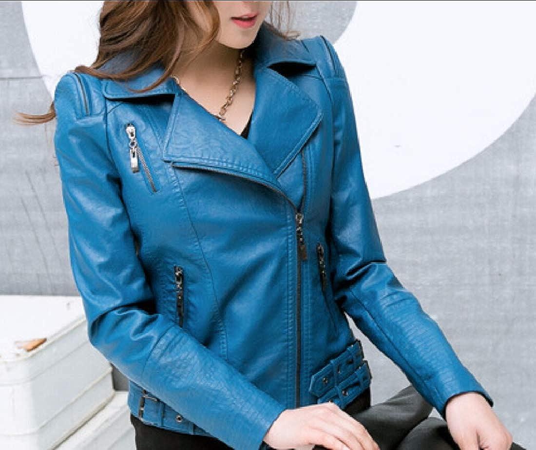 yibiyuan Womens Fashion Moto PU PU Leather Coats Faux Leather Short Coats