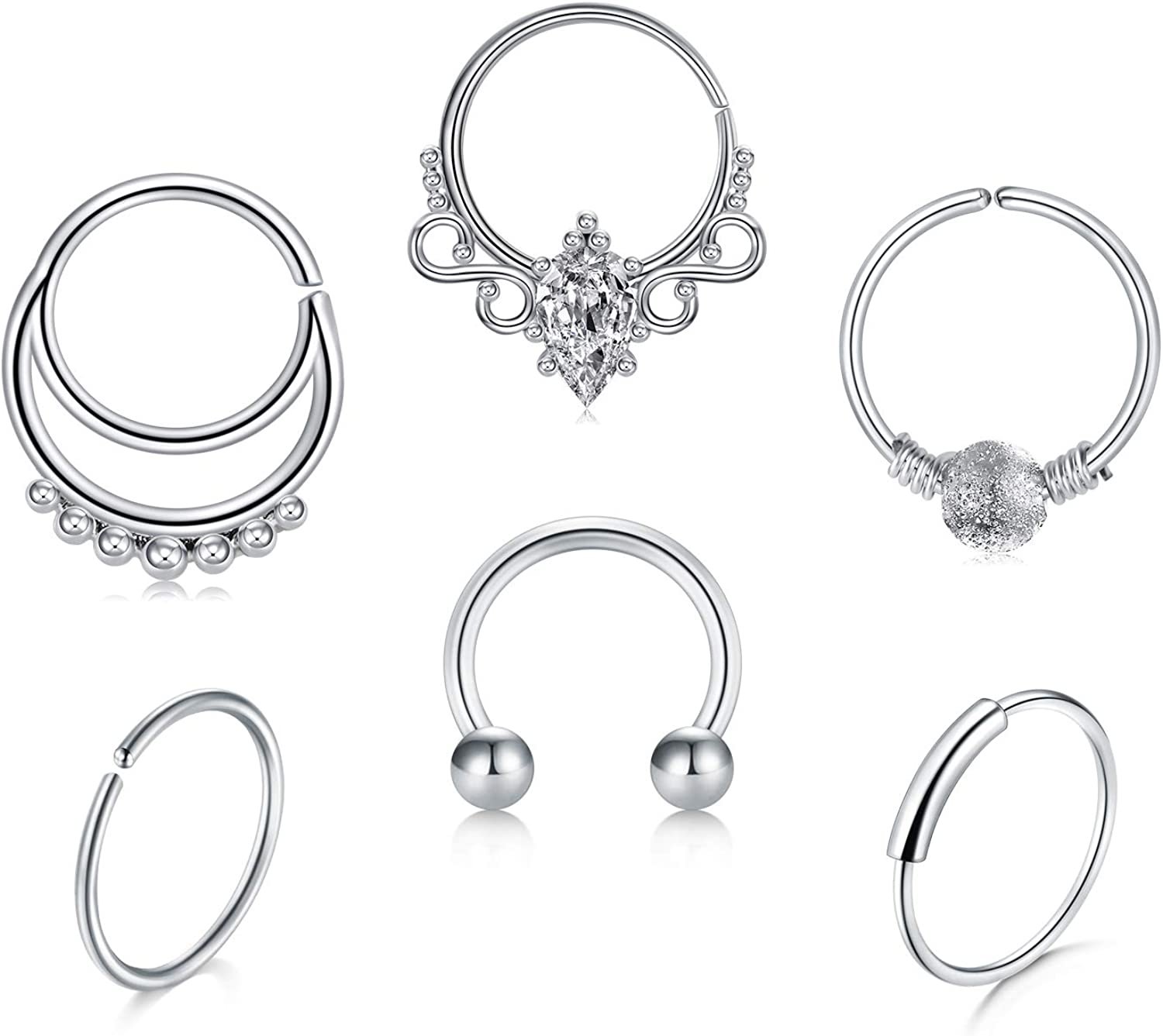 QWALIT 16G Nose Rings Hoop Septum Ring Helix Cartilage Tragus Daith Earrings Hoop 18g Seamless Hinged Clicker CZ Surgical Stainless Steel Lip Septum Piercings Jewelry for Men Women 8mm