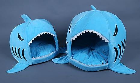 Tiburón mascotas Tiburón mascotas Zwinger cálido gato dispersa el Perro Cama doméstica Animales requisitos, azul