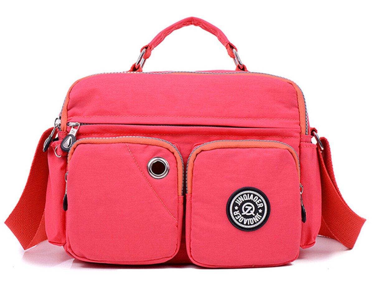 Tiny Chou Lightweight Waterproof Nylon Top-handle Handbag Compact Crossbody Shoulder Bag with Pockets Pink