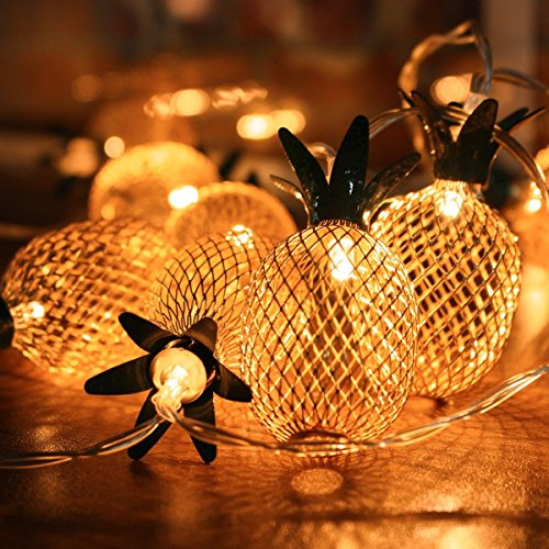 Pineapple String Light, Elfeland 20LED 7.2FT Novelty Fairy Lights Battery Powered Metal Mesh Lantern Bubble Ball Lights for Christmas Home Wedding Party Bedroom Birthday Decoration (Rose Gold) (Cooper Wire Wrap)