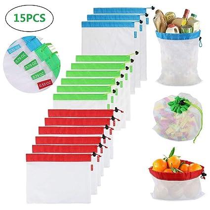 15PCS Bolsas Reutilizables Compra Ecológicas Bolsas Fruta Reutilizables para Almacenamiento Verduras Juguetes Lavable y Transpirable 3 Tamaños