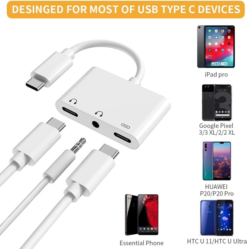 USB C Headphone Adapter Samsung Note 10//10+ 3.5mm and Type C Digital Smart DAC Chip Audio Jack Splitter /& 1 Charger Google Pixel Huawei USB C Phone 3 in 1 Type C Charger Compatible for iPad Pro