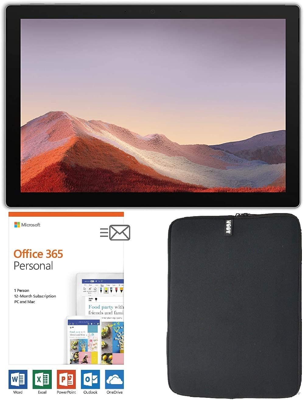 Newest Microsoft Surface Pro 7 12.3 Inch Touchscreen Tablet PC Bundle with Office 365 Personal (1 Year) And WOOV sleeve, Intel 10th Gen Core i3, 4GB RAM, 128GB SSD, Windows 10, Platinum (Latest Model)