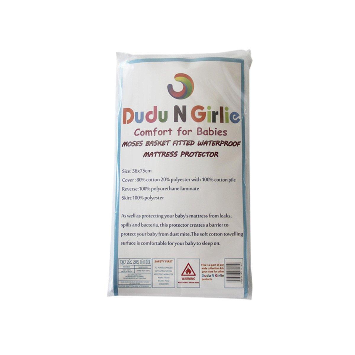 Dudu N Girlie Terry Cotton 100 Percent Waterproof Moses Basket Mattress Protector, 36 cm x 75 cm Dudu N Girlie Ltd.
