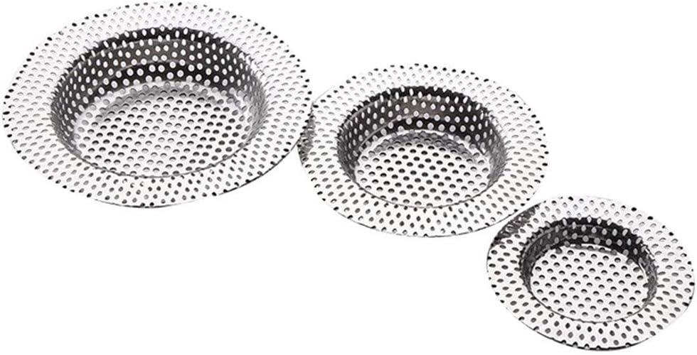 3 St/ück Abfluss-Sieb Edelstahl Ausguss-Filter Dusche Haarfilter Drain Hair Catcher f/ür Badewannen und K/üchen IWHTGD Abflusssieb Silber