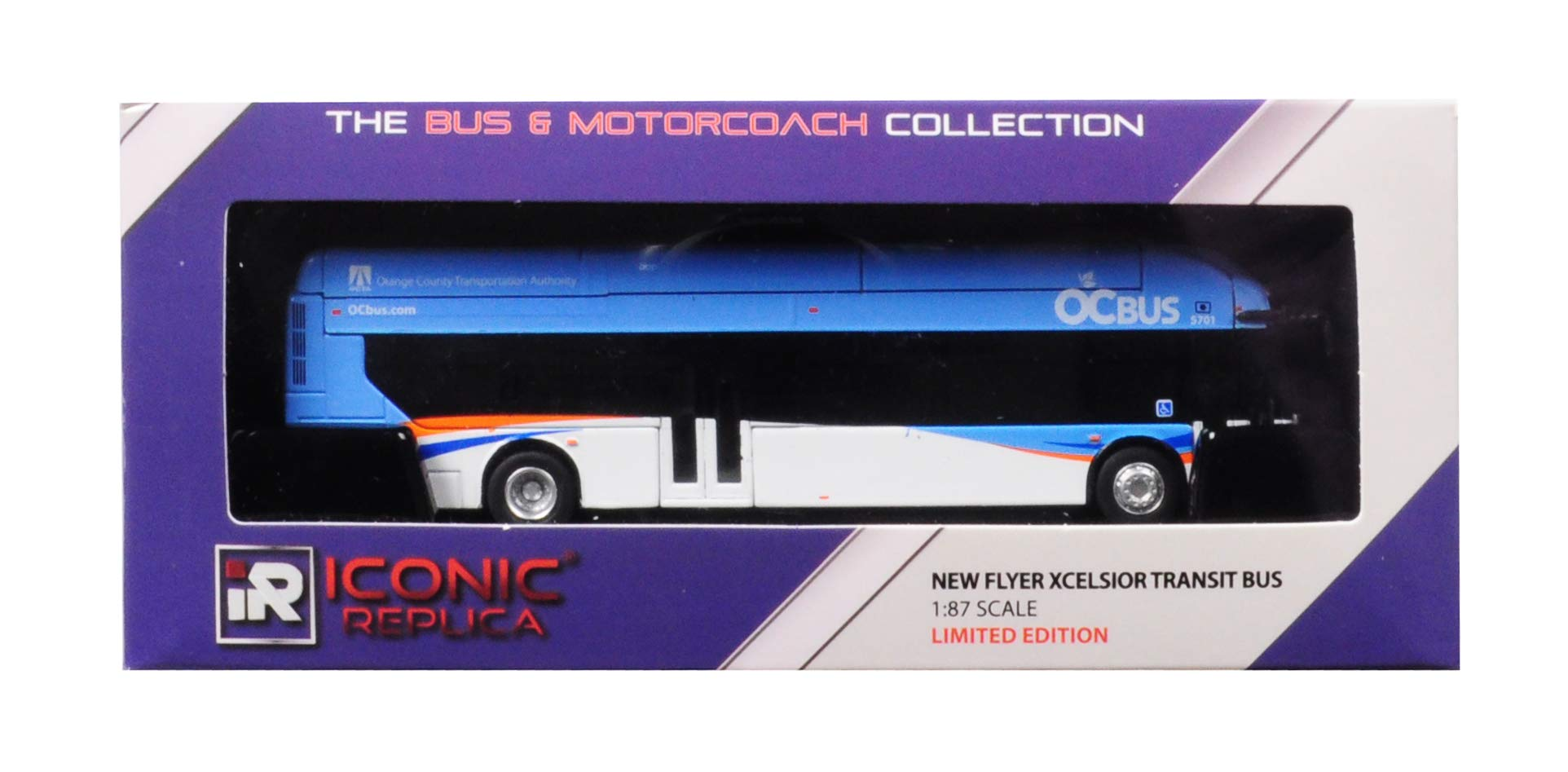 New Flyer Xcelsior CNG Octa Transit Bus Orange County Transportation Authority Blue 1/87 Diecast Model by Iconic Replicas 87-0082