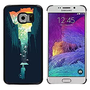 Pulsar Snap-on Series Teléfono Carcasa Funda Case Caso para Samsung Galaxy S6 EDGE / SM-G925(NOT FOR S6) , Arte Naturaleza colorido del trullo minimalista""