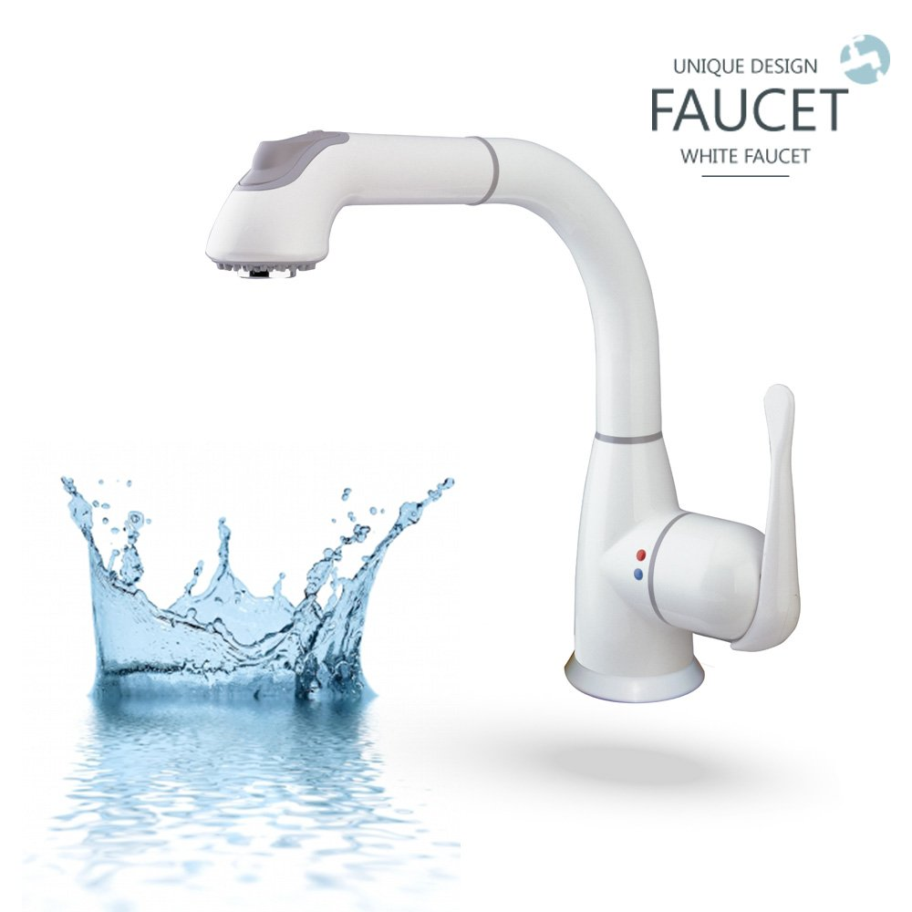 CLEANFLO 8811, Pull Out Kitchen Faucet, 1-3 Hole Installation, High 11.5 INCH-Arc Spout, 1 Handle, 2 Spray Settings, Advanced Polymer Materials, Lead-Free, Non Corrosive, White Finish by CleanFLO (Image #3)