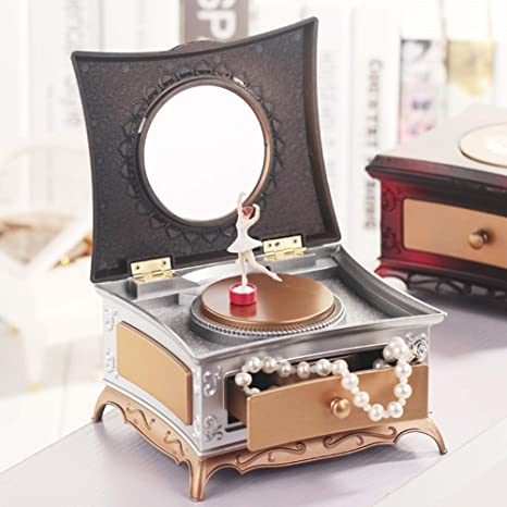 WHTBB Caja de joyería musical, cajón cuadrado retro retro Tocador ...