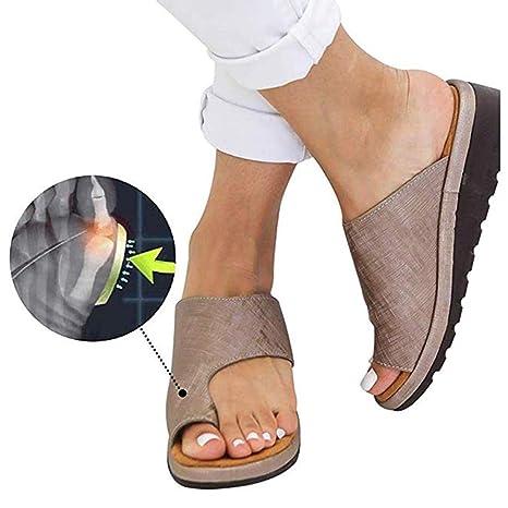 aliexpress closer at details for HBBLX Women Comfy Platform Sandal Orthotic Shoes PU Leather Flat ...