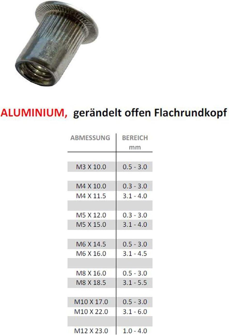 20 M5 x 15.0 50 ou 100 /écrous /à sertir en aveugle/-/En aluminium/-//À t/ête plate Lot de 10