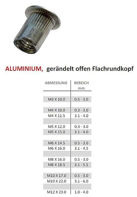 10//20//50//100 St/ück Blindnietmuttern Aluminium Flachkopf Nietmutter 10, M8 x 16.0