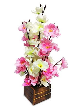 Buy Woodzone Guldasta Flowers Pot For Living Room Artificial Plant Fake Flowers With Pot For Home Decoration Artificial Flora Flower Vases Pink White 14 Inch Online At Low Prices In India