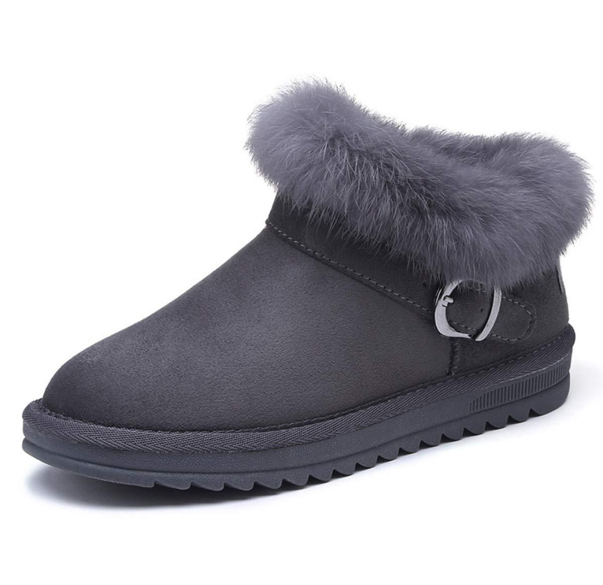 DANDANJIE Damenschuhe Stiefel mit Niedrig-Top-Flache Ferse Schnalle Snow Stiefel Winter Faux Wildleder Slip On Ankle Stiefel