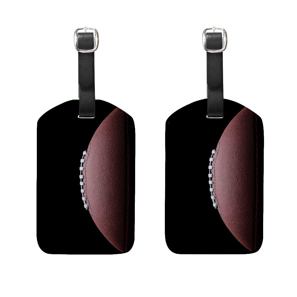 Luggage Tags PU Leather Tags Suitcase Labels Travel Bag With Privacy Cover American Football Close Up Pattern Creative Pattern Printing 1pcs