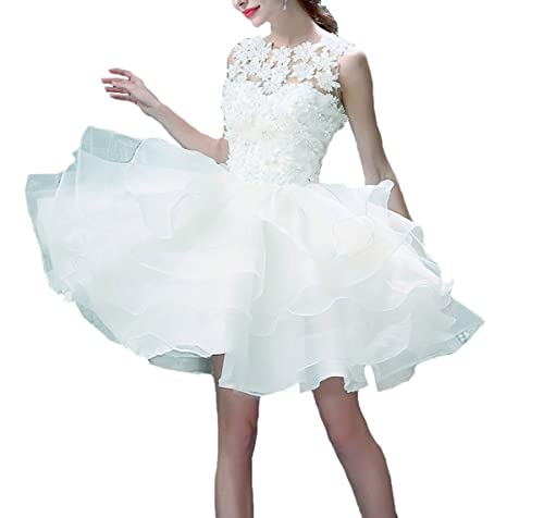 V.C.Formark Floral Lace Ruffles White Evening Gown Short Wedding Dress NEW