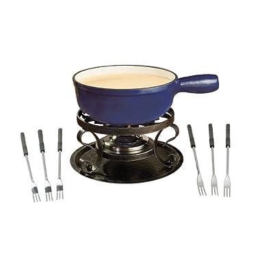 Swissmar KF-66518 Lugano 2-Quart Cast Iron Cheese Fondue Set, 9-Piece, Deep Blue
