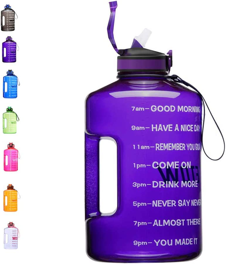 ETDW Gallon Water Bottle with Time Marker, 128oz BPA Free Sport Water Jug with Straw Clean Brush Leak Proof Daily Water Intake Bottle Click Pop Up