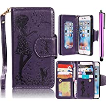 Nexus 5X Case, Bonice LG Nexus 5X Luxury Dual Wallet Case [9 Cards Holder] Premium Leather Embossing Girl Flower Pattern Magnetic Flip Stand Cover Google LG Nexus 5X (2015) + Metal Stylus Pen, Purple