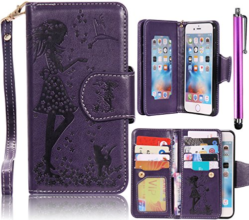 J7 Case, Samsung Galaxy J7 2015 Case, Bonice Luxury Dual Wallet Case [9 Cards Holder] Premium PU Leather Embossing Girl Flower Pattern Magnetic Flip Stand Phone Cover + Metal Stylus ()