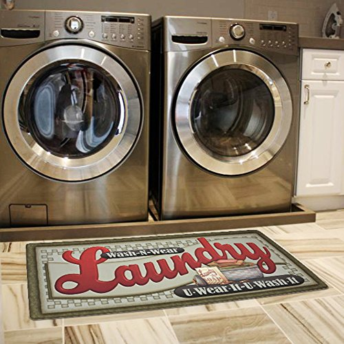 USTIDE Loads of Fun Rug for Laundry Room Nonslip Rubber Backer Mat Floor Runner Durable Carpet Waterproof Kitchen Mats (20''x48'', 1pc)
