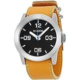 Nixon Men's 42mm Brown Leather Band Steel Case Quartz Black Dial Analog Watch A0491602