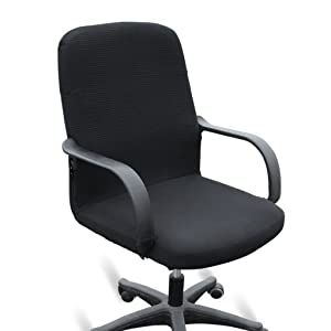 BTSKY Office Computer Chair Covers Stretchy -Polyester Desk Chair/Rotating Chair Cover, Medium Size (Black)