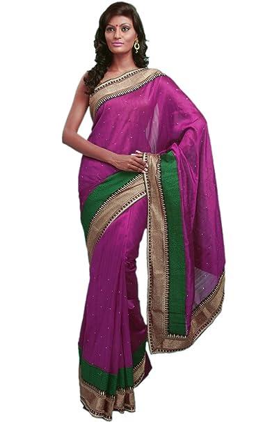 4cc7a13b03d99 Amazon.com  Purple Designer Women Bhagalpuri Silk Clothing Stylish Saree  Dress – Free Size  Clothing