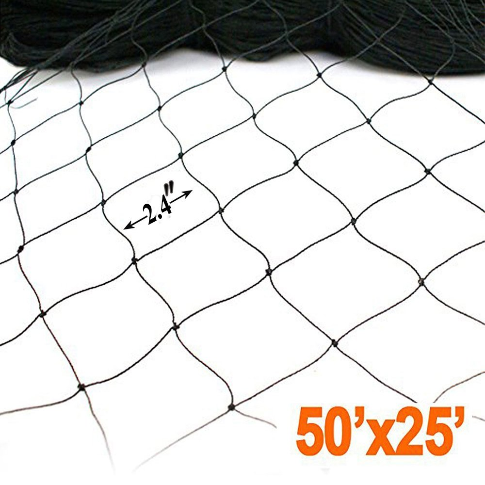 25' X 50' Net Netting for Bird Poultry Aviary Game Pens New 2.4'' Square Mesh Size