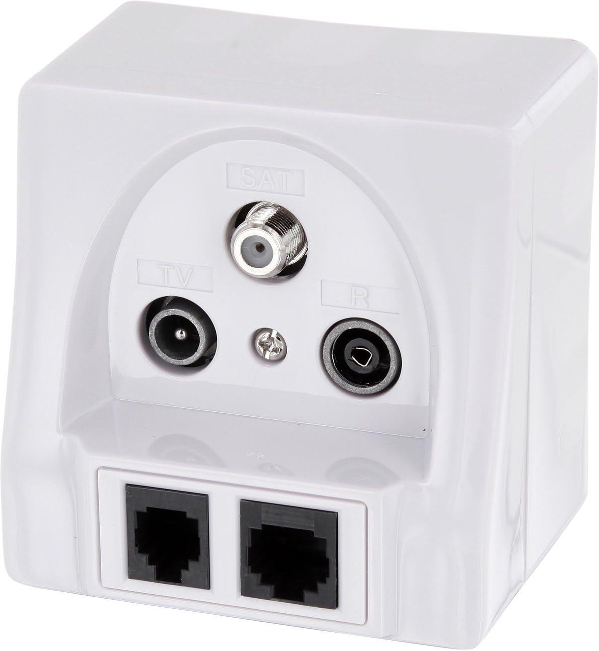 Enchufe multimedia empotrable, alta calidad, para televisión digital y alta definición, radio, satélite, RJ45, RJ11