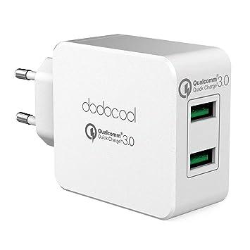 dodocool Cargador USB de Pared con 2 Puertos USB 24W / 4.8A con Tecnología AIQ Una Corriente Máxima de 2.4A Cargador Móvil para iPhone X / 8/8 Plus, ...