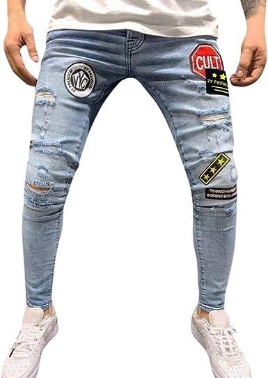 Vpass Pantalones Vaqueros Para Hombre Pantalones Casuales Moda Jeans Rotos Trend Largo Pantalones Insignia Pants Skinny Pantalon Fitness Jeans Largos Pantalones Ropa De Hombre Amazon Es Ropa Y Accesorios