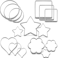 JYDirect 15 Pieces Large Cookie Cutter Set Stainless Steel Cake Cutter Bread Fondant Biscuit Cutters Star Heart Round…