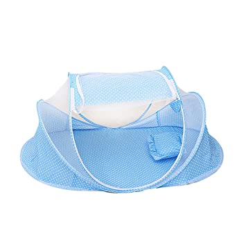 Lazmin Foldable Baby Mosquito Net Travel Bed Blue Portable Foldable Mosquito Net Anti-Bug Crib Cradle Tent with Mattress Pillow for Baby Infant