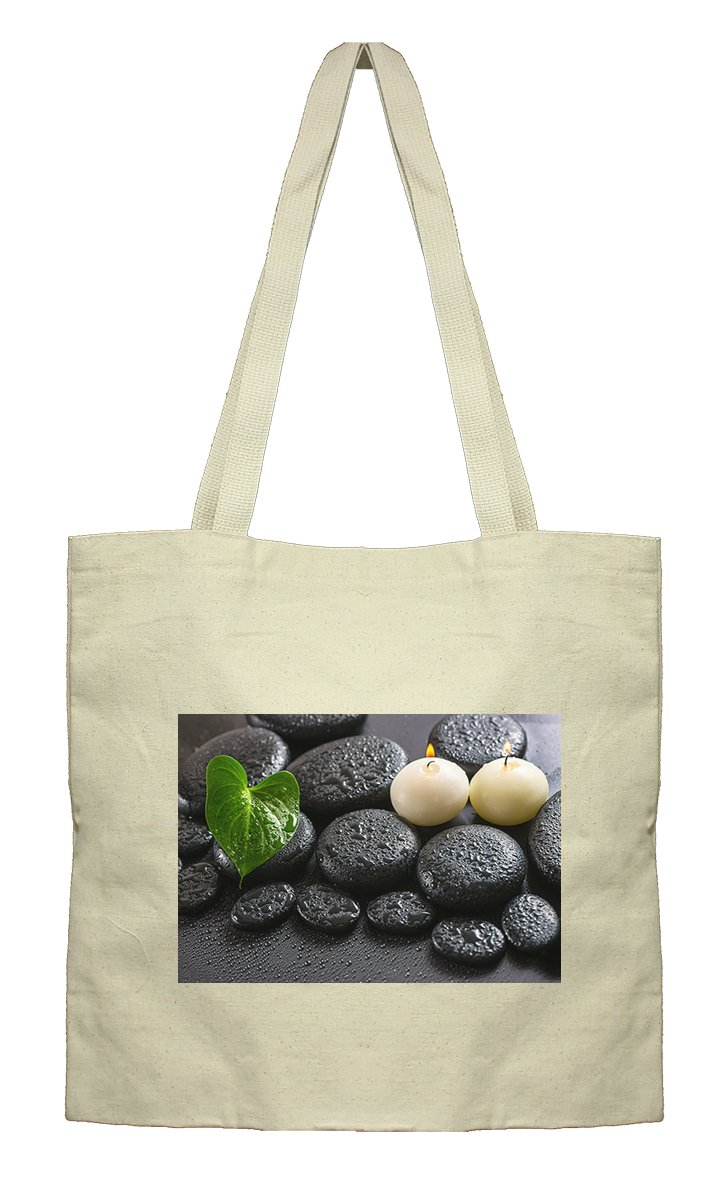 Flat Market Canvas Bag Spa Still Life Of Green Leaf Calla Lily By Style In Print