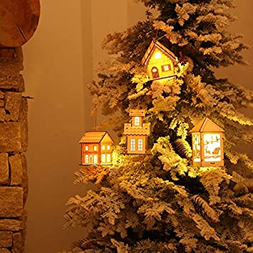 christmas tree ornamentsfashionclubs xmas tree hanging pendant wooden lighted cabin house ornaments decorative hanging - Cabin Style Christmas Decorations