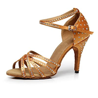 KAI-ROAD Ballroom Dance Shoes Women 4 inch Dancing Heels High Heel Salsa Shoe Latin Sandals Gold | Heeled Sandals