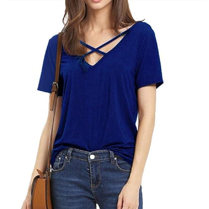 Blusas de Mujer de Moda 2017 Camiseta Lace Up Camisa Manga Corta V Cuello T-