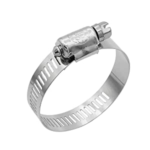 Cambridge Worm Gear Hose Clamps SAE Size 20, Adjustable 13/16-in to 1 3/4-in, Stainless Steel Band and Housing, Zinc Plated Screw, 10 Pack