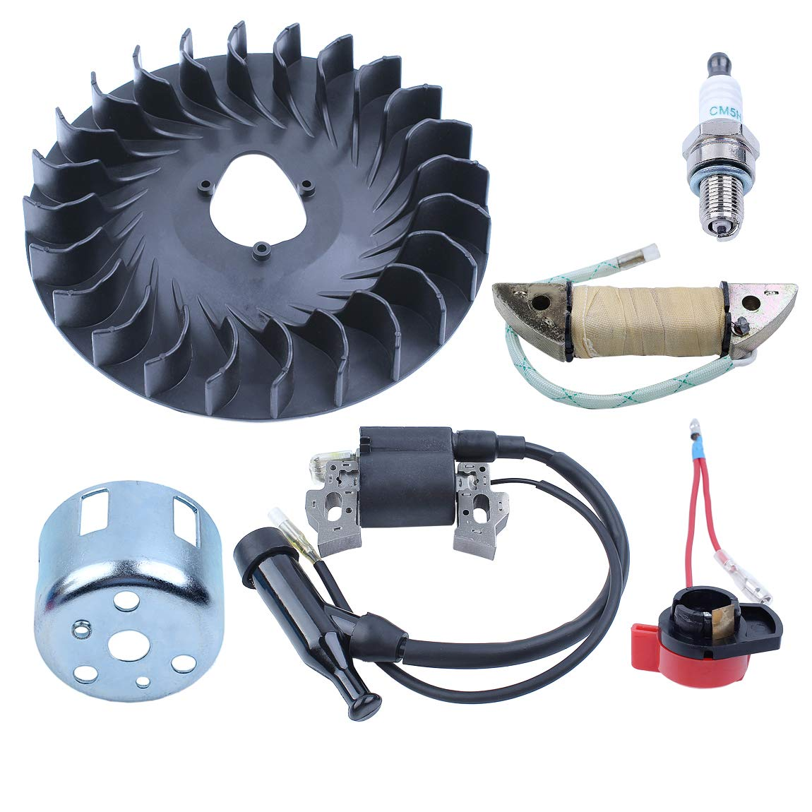 Haishine Flywheel Cooling Fan Ignition Charging Coil Starter Cup Kit for Honda GX160 GX200 Chinese 168F 170F Trimmer Small Engine Motor
