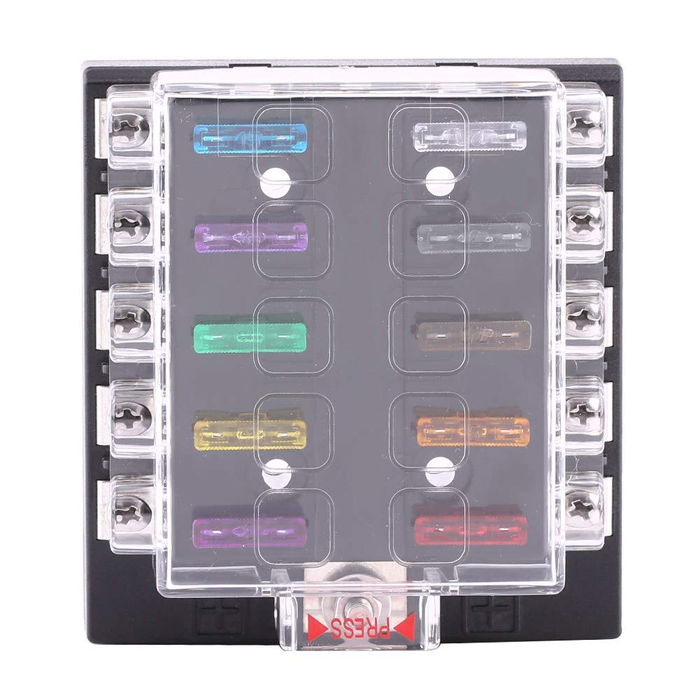 10 Way Blade Fuse Holder Box Automotive Circuit Standard Fuse Block Cover Kit Assortment DC 32V for Auto Car Truck Boat ATC ATO with 10 Blade Fuse /& 10 Terminals Keenso
