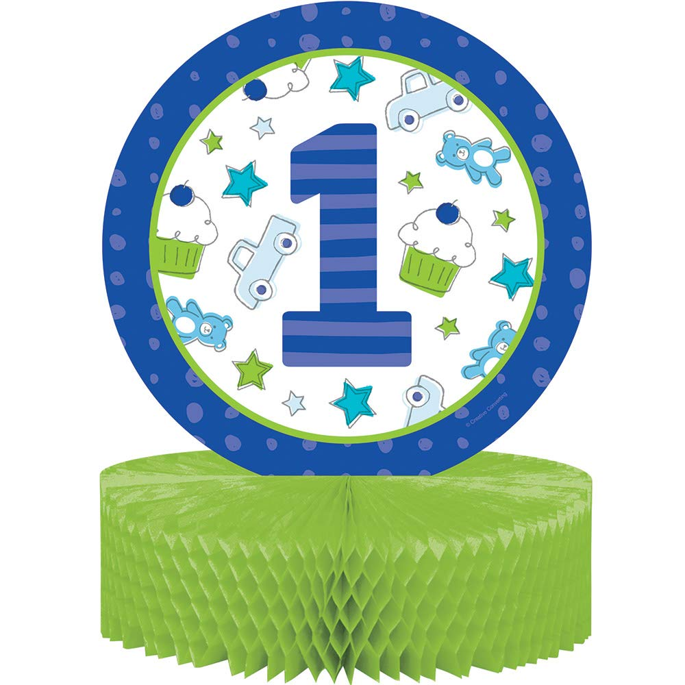 Party Central Club Pack of 6 White and Blue Doddle First Birthday Themed Centerpiece Honey Comb Shaped 13.5''