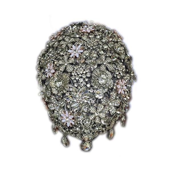 FYSTORE Luxury Gorgeous Wedding Bridal Bouquets Elegant Crystal Bride Flower Wedding Bouquet Handmade Crystal Ribbon Weaths