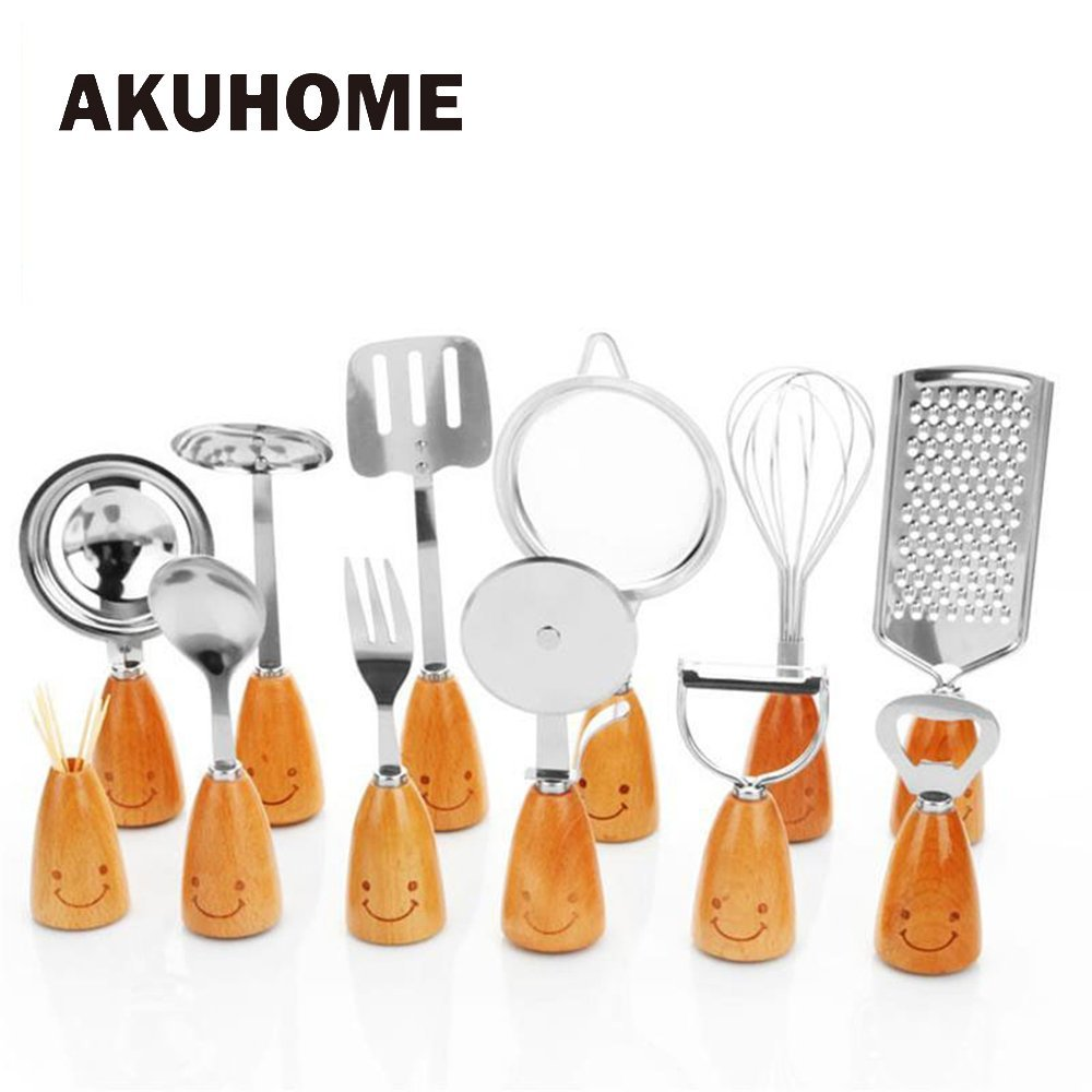Amazon.com | JEWH [1pc] Smile Face Cutlery Set - Beech Handles Stainless Steel Fork - Egg Division - Scoops Peeler - Spatula Skimmer - Egg Brater Grater ...