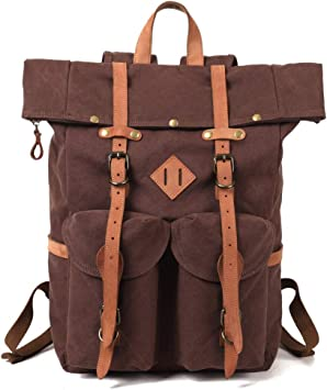 skated thick leather backpack Adventure Bag Brown leather Backpack Camel leather backpack old leather