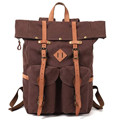 Kemy's Mens Canvas Backpack Leather Rucksack