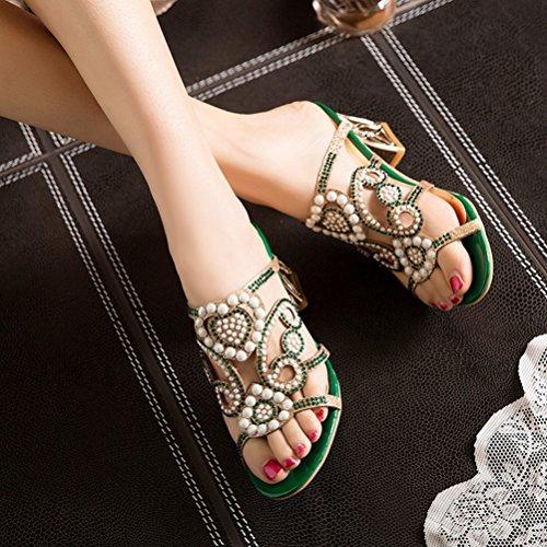 Diapositivas en Bruto de del de Tal Abierta Dedo Sexy Perlas Mujer Sandalias Hueco la pie de q8w6TOa8