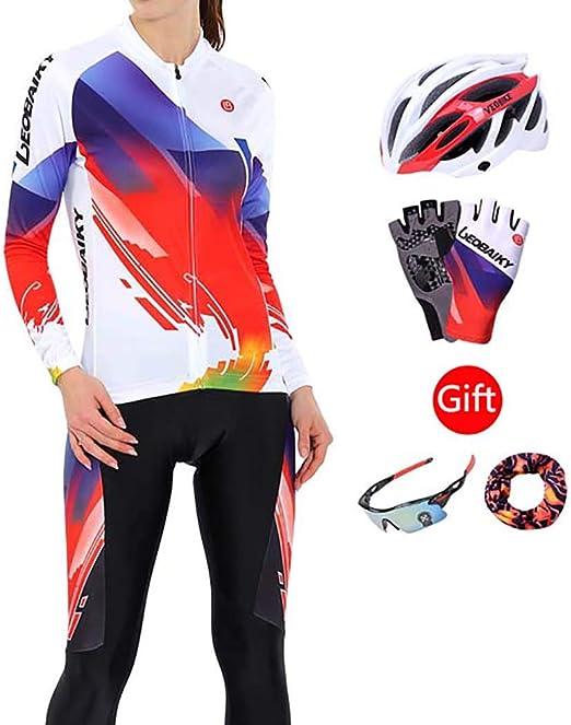 LEOBAIKY Chaqueta de Ciclismo, Camiseta de Ciclismo para Mujeres ...